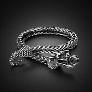 VTG Style Dragon 925 Silver Men Bracelet